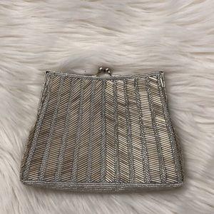 La Regale brand New Small silver bead purse clutch